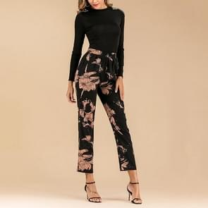 Gedrukte elastische taille verlaat gedrukte kant rechte broek (kleur: zwart maat: S)