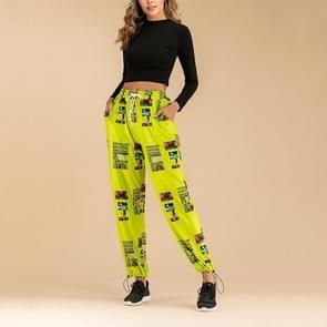 Fluorescerende kleur Printing elastische Beam poort broek (kleur: groen fluorescerende maat: S)