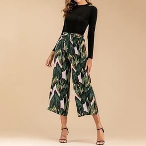 Elastische taille Wide Leg Broek met tropische prints (kleur: donkergroen maat: S)