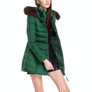 Hooded stiksels korte casual jas katoenen jas (kleur: groen formaat: One size)