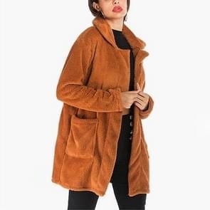 Lange wollen revers fleece jas (kleur: oranje maat: S)