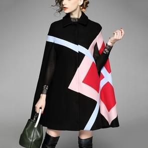 Temperament mouwloos wollen mantel vacht (kleur: zwart maat: One size)
