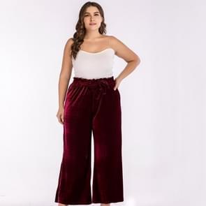 Vrouwen plus grootte hoge taille gebonden bandbreedte losse pure kleur broek Wide Leg Broek (kleur: rood maat: XL)