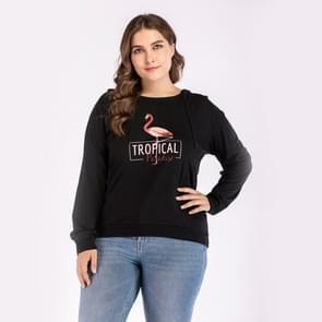 Ronde hals plus size vrouwen afgedrukt hoodie (kleur: zwart maat: XL)