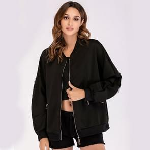 Mode ronde hals lange mouw Sequin patch jas (kleur: zwart maat: S)