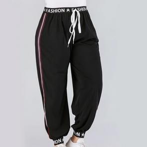 Plus size vrouwen gedrukte singelbanden bandjes hoge taille casual broek (kleur: zwart maat: 4XL)