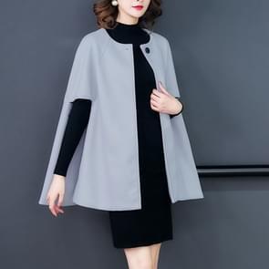 Een Buckle losse mantel Cape wollen jas (grijs)