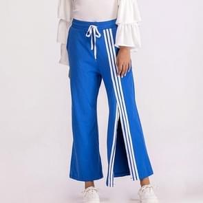 Hoge taille Split singelband casual broek (kleur: blauw maat: S)