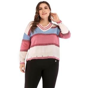 Plus Sized vrouwen gat V-hals lange mouw Pullover (roze)