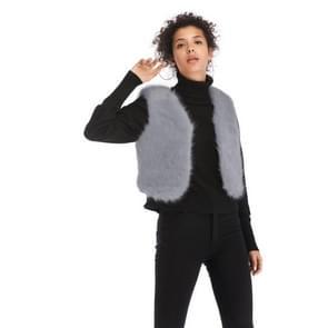 Pluche korte jas warm slim-fit vest (kleur: grijs maat: M)