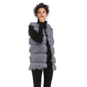 Wollen vest warme en losse lange vacht (kleur: grijs maat: M)