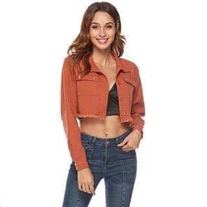 Vrouwen effen kleur Beaded denim korte jas (kleur: bruin maat: S)