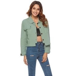 Vrouwen Ruffle Pocket lange mouw shirt jas (kleur: groen maat: S)