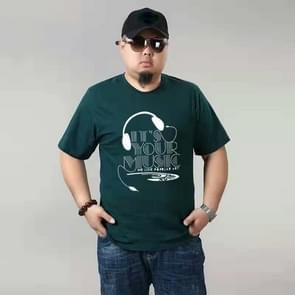 Plus Fat plus size katoen korte mouwen mannen T-shirt (kleur: donkergroen grootte: 3XL)
