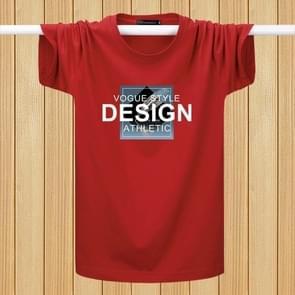 Engels afdrukken T-shirts jeugd plus vet losse halve mouwen casual korte mouwen (kleur: rood maat: L)