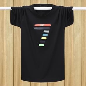 Mannen korte mouwen T-shirt plus vet losse halve mouwen casual onder shirt (kleur: zwart maat: 4XL)