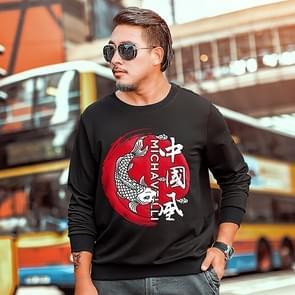 Mannen mode casual ronde hals lange mouwen Pullover Sweatshirt afdrukken (kleur: zwart maat: 3XL)