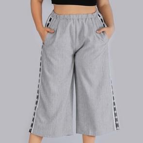 Plus size vrouwen bijgesneden Wide-Leg Broek (kleur: grijs grootte: 0XL)