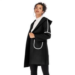 Dubbele zak lange Hooded warme dikke wollen jas voor vrouwen (kleur: zwart maat: M)