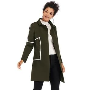 Contrast verdikte wollen jas revers voor vrouwen (kleur: Army Green size: M)