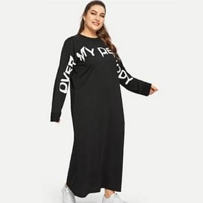 Lange mouwen casual sweatshirt jurk (kleur: zwart formaat:XXXL)