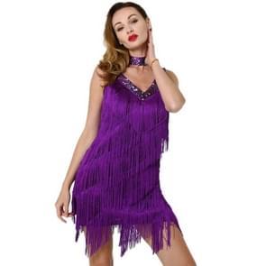 Vrouwen Fringed Pailletten Latin Rok (kleur: paarse grootte: een maat)