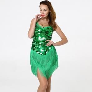Vrouwen Kwast Pailletten mouwloze jurk met lage mouwen (kleur: groene maat: one size)