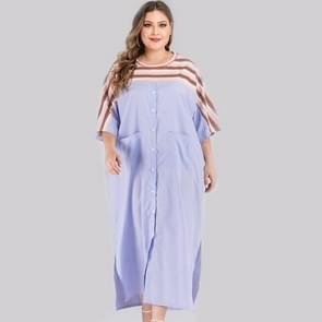 Plus Size Gestreepte stiksels jurk (kleur: als show grootte:XXXXL)