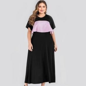 Plus Size Stitching Bijpassende jurk (kleur:Als show grootte:XXXXL)