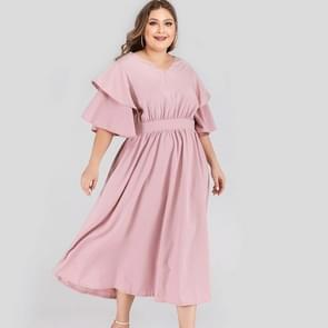 Plus Size Double-layered Ruffle Sleeve Dress (Color:Pink Size:XL)
