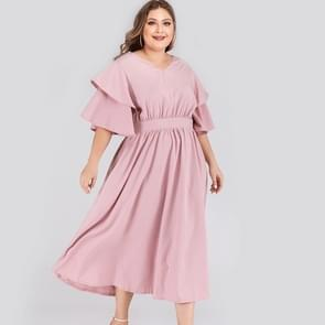 Plus Size Double-layered Ruffle Sleeve Dress (Color:Pink Size:XXXXL)