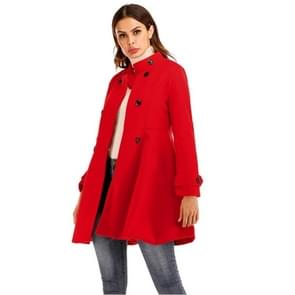 Vrouwen korte Swing wollen jas (kleur: rood maat: L)