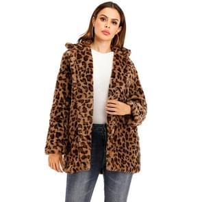 Vrouwen Leopard korte pluche jas (kleur: bruin maat: M)