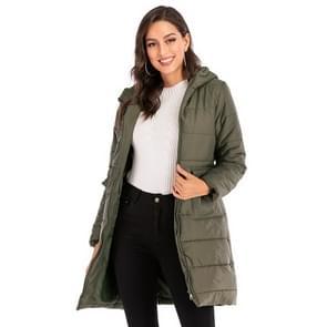 Vrouwen lange Hooded katoen jas (kleur: groen maat: 2XL)