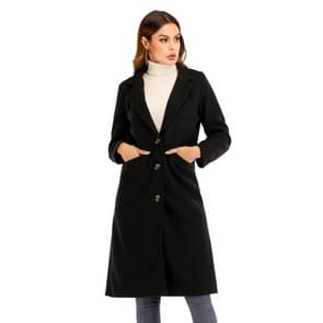 Vrouwen effen kleur lange mouw wollen jas (kleur: zwart maat: M)