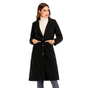 Vrouwen Solid Color Long Sleeve Woolen Coat (Kleur:Zwarte Maat:XXL)
