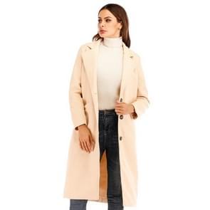Vrouwen Solid Color Long Sleeve Woolen Coat (Kleur:Beige Size:XXL)