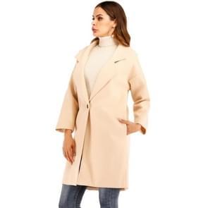 Vrouwen effen kleur lange mouw wollen jas (kleur: beige maat: XXL)