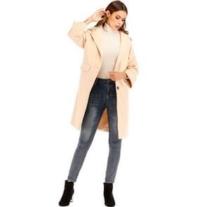 Vrouwen effen kleur lange mouw wollen jas (kleur: beige maat: 2XL)