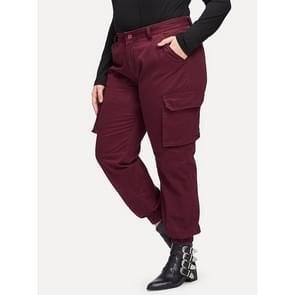 Mode vrouwen groot formaat casual broek (kleur: wijn rood maat: XL)