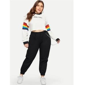 Mode vrouwen plus size casual broek (kleur: zwart formaat: 0XL)