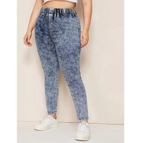 Mode vrouwen plus size casual broek (kleur: donkerblauw maat: 0XL)