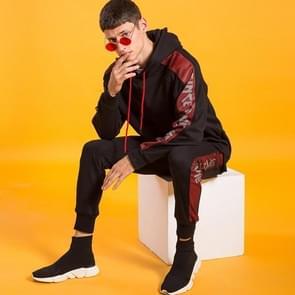 Mode casual losse Sportswear lange mouw sport-pak (kleur: zwart rood maat: 2XL)
