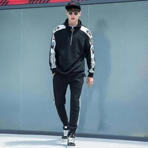 Mode gedrukte sport casual Hooded Sportswear pak (kleur: zwart maat: 2XL)