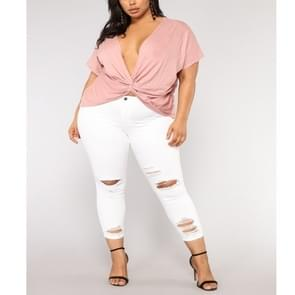 Plus Size effen kleur versleten casual broek (kleur: wit maat: 2XL)