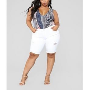 Plus Size effen kleur casual vijf-punts broek (kleur: wit formaat: 5XL)