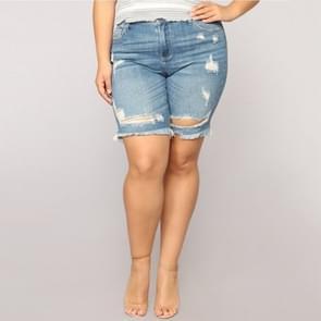 Plus Size cowgirl shorts hotpants (kleur: blauw maat: 3XL)