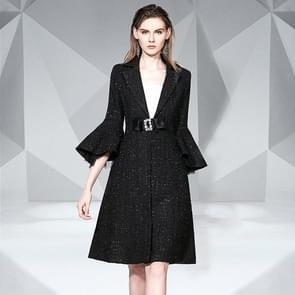 Trompet mouw lange stijl wollen jas (kleur: zwarte maat: L)