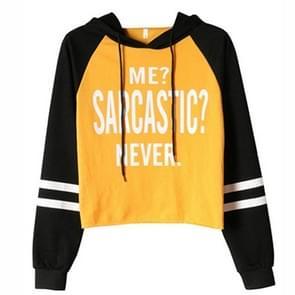 Letter afgedrukt sweater met capuchon herfst en winter losse casual kleur bijpassende top (kleur: geel formaat: s)