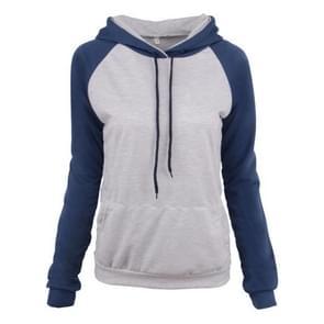 Sport Casual Kleur Contrast Hooded Sweater Herfst Winter Slim Tie Top (Kleur: Blauw Formaat: M)